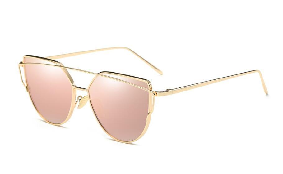 Hot Sale Mirror Flat Lense Women Cat Eye Sunglasses Classic Brand Designer Twin-Beams Rose Gold Frame Sun Glasses for Women Men(China (Mainland))