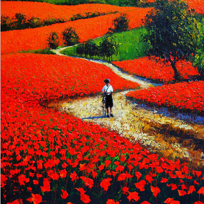 Abstract Landscape Oil Painting Little Boy Bicycle Red Sea Flower Oil Painting Living Room Wall Artwork Decorations
