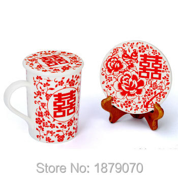 SUN IN TEA- Chinese lucky symbol tea cup with lid and coaster with display stand/Wedding favors and gifts/Souvenir for wedding(China (Mainland))