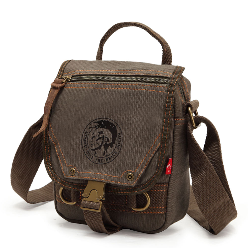 Men Stylish Leisure Vintage Belt Canvas Shoulder Bags High Quality School Book Bags Retro Post Office Messenger Bags(China (Mainland))