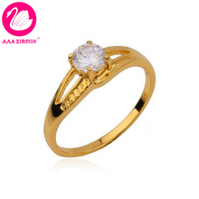 24K Real Gold Plated 4 Prongs 0.65 CT Round Brilliant Cut Grade AAA Solitaire CZ Diamonds Ring (10520) FREE SHIPPING(China (Mainland))