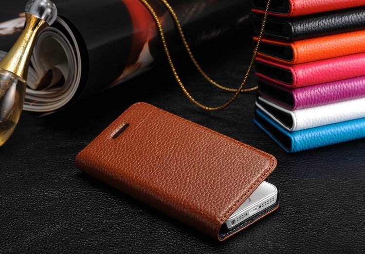 Luxury cell phone cases 100% Real Genuine Cow Leather Handmade Flip Flap phone Case Cover For Apple iPhone 5 5G 5S DHL Free(China (Mainland))