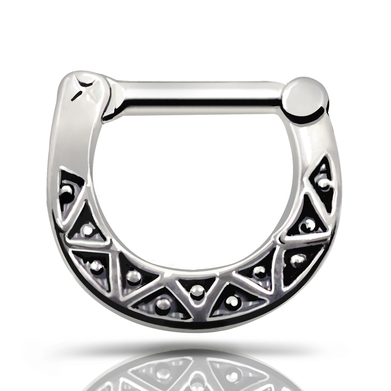 Septum clicker Nose Cuff Ring 316L Stainless Steel Black Septum Clicker Hinged Triangle Nose Ring Jewelry Gauges Nose Piercing(China (Mainland))