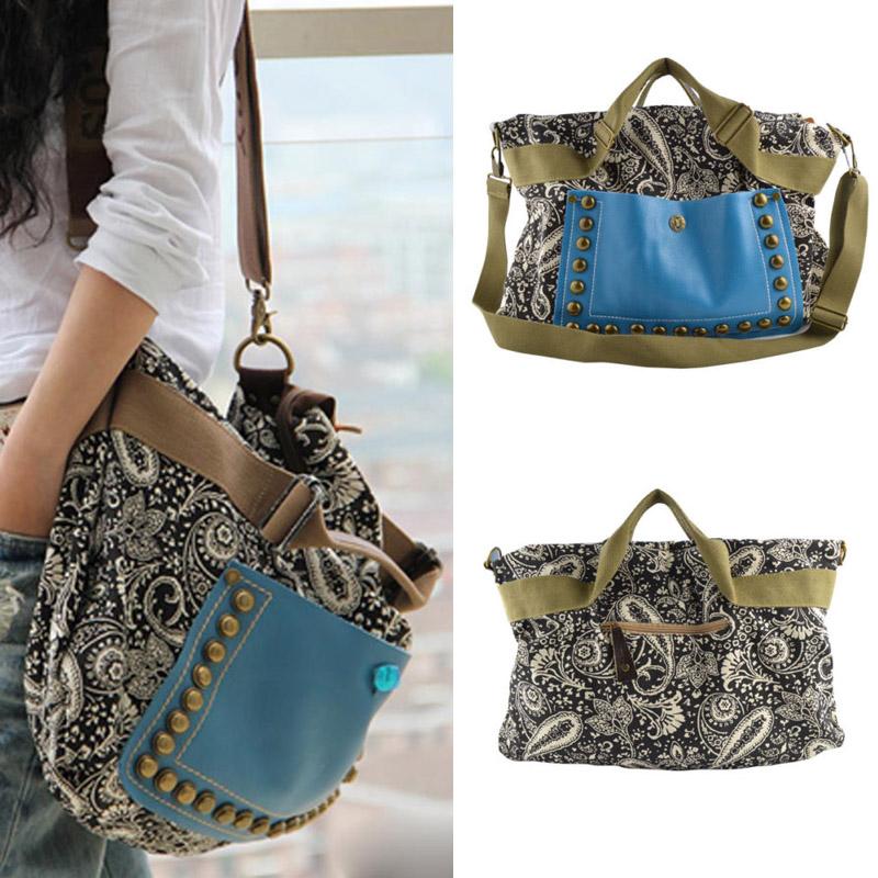 1pc  Spring Vintage Women Handbag Canvas Rivet Tote Fashion National Wind Messenger Bags New 2015 -- BIA108 PR30 Wholesale<br><br>Aliexpress