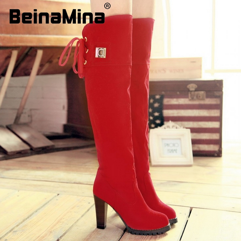 CooLcept Free shipping over knee thin heel boots women snow fashion winter warm footwear shoes boot P7909  EUR size 34-39<br><br>Aliexpress