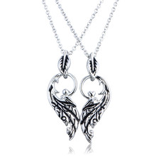 KeiMi New High Quality 2 PCS Vintage Silver Wing Necklace Valentine's Day Gift Big Leaf Pendant Necklaces Jewelry For Lover(China (Mainland))