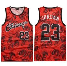 New fashion men's manga 3d tank top pink floral print vest top chicago jordan 23 basketball jersey casual shirt Free shipping
