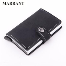 MARRANT RFID Credit card holder High quality PU leather men small wallet Antitheft Aluminum business vintage solid card case(China (Mainland))