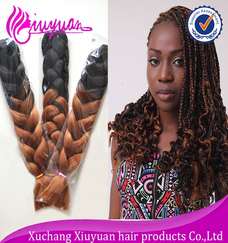 China supplier curly synthetic braiding hair, two tone ombre jumbo braid(China (Mainland))