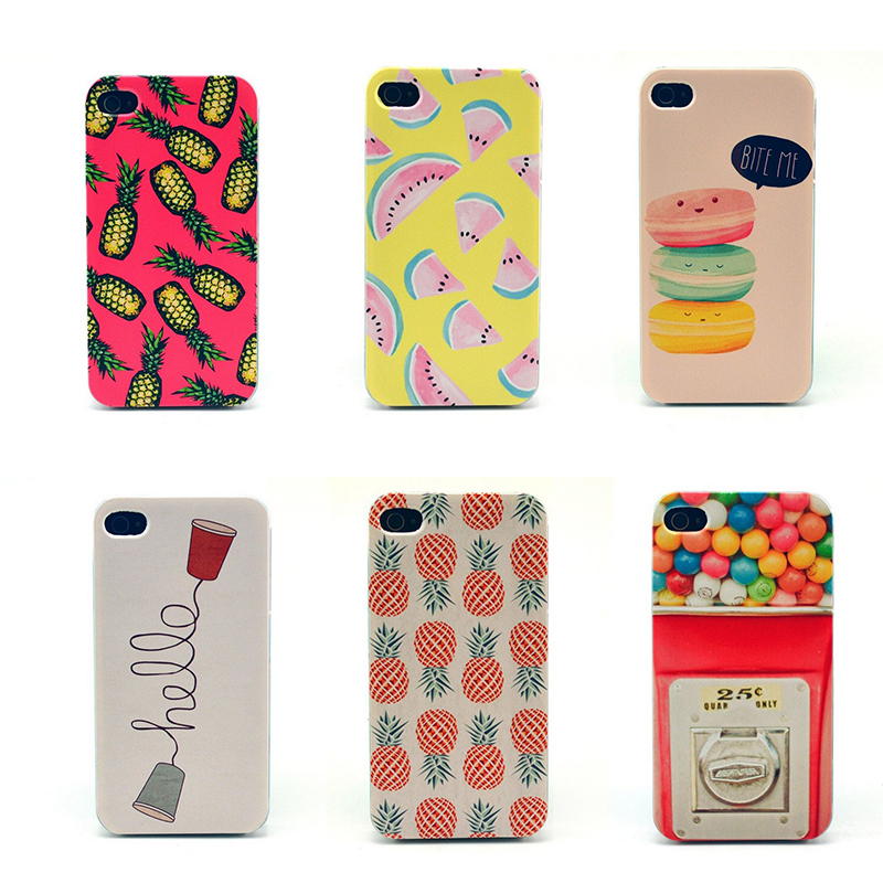 2015 New Arrival Girl Trendy Sweet Fruity Candy Macaron Color Print PC Cell Phone Case For iPhone 4s Cellphone Case PC Hot(China (Mainland))