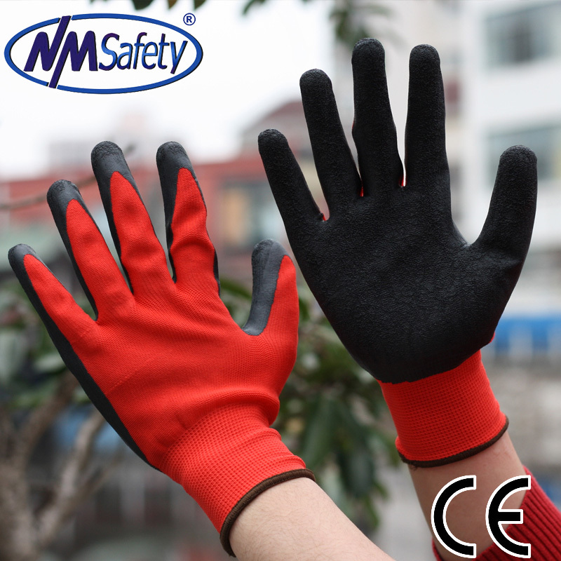 NMSafety 2015 13 gauge polyester &amp; black latex safety working gloves,polyester working gloves,Factory direct price<br><br>Aliexpress