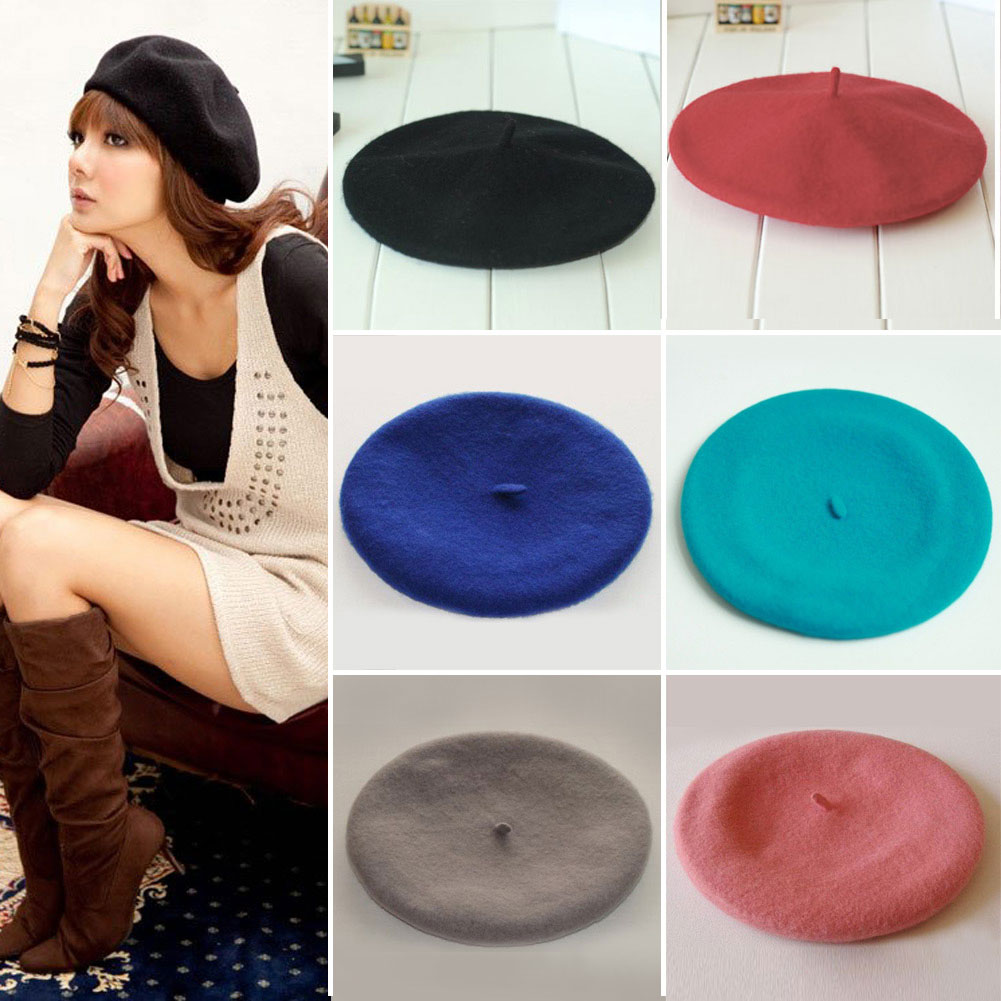 Retro Warm Winter Women Ladies Casual Beret Cap Comfy Stylish Wool Hats Royal Blue/Pink/Black/Red/Light Blue/Light Grey(China (Mainland))