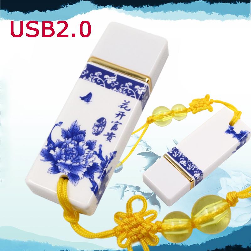 Blue and white porcelain Retro China usb flash drive ceramic gift pen drive 4G 8G 16G 32G pendrive usb stick 64gb flash disk(China (Mainland))