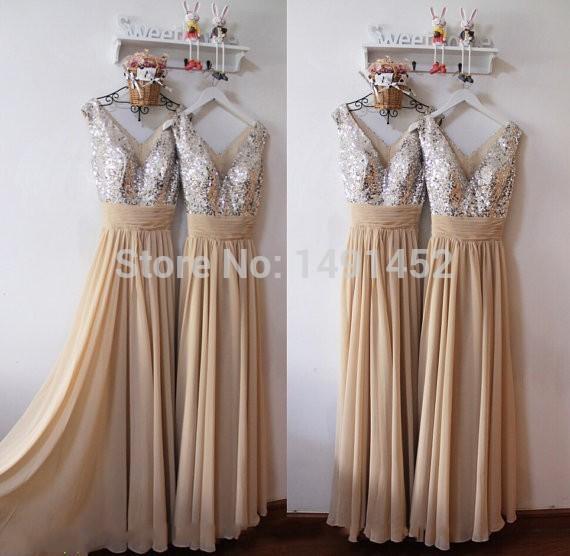 HotSimple Champagne Long Vestido Longo Casamento Line V Neck Tank Sleeveless Chiffon Sequined Floor Length Bridesmaid Dresses2