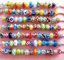 Buy 50 mixed 4MM Hole Hot Silver Murano Glass Beads Charm fit 3MM European Bracelet Lots DIY Bead Jewelry for $6.11 in AliExpress store