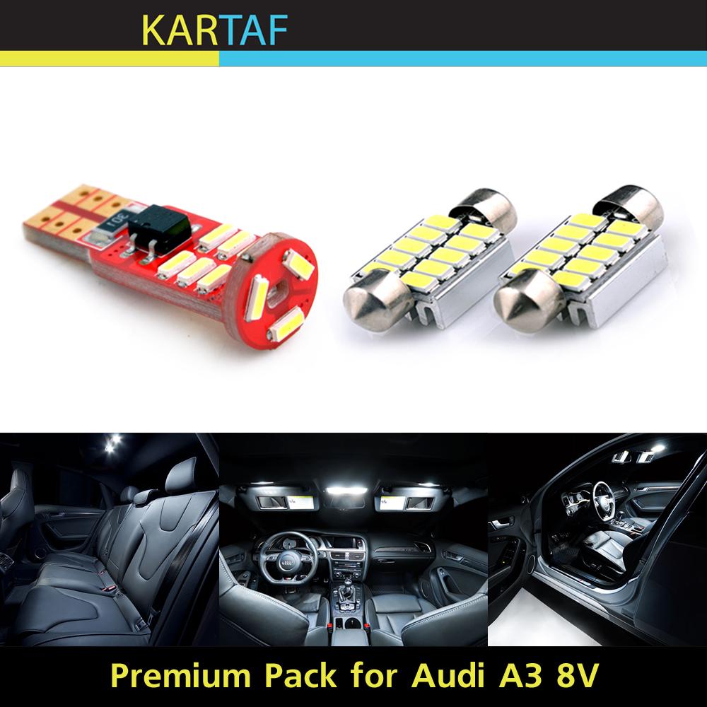 7PCs For Audi A3 8V S3 Sedan Premium Pack LED Interior Package Kit T10 Festoon Canbus Error Free Glove Box Lamp Vanity Mirrors(China (Mainland))
