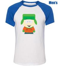 Kyle Broflovski in South Park Funny Design Printed T-Shirt Men's Boy's Graphic Tops Blue or Black Sleeve(China (Mainland))