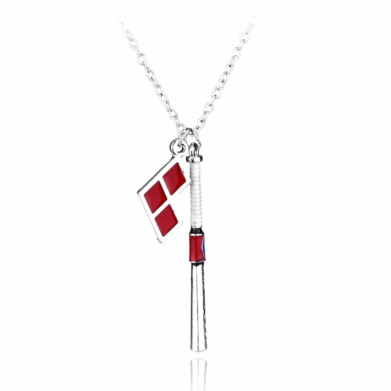 Suicide Squad Hot Movie Jewelry Baseball Bat Chain Necklace DC Comics Accessories for Charms Women Men Necklace(China (Mainland))