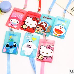 Kawaii Cartoon Hello Kitty Baymax Fluorescent Powder Silicone Bus Card Cover Hanging School Job Id Card Passport Holder(China (Mainland))
