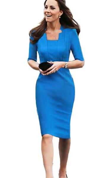 2015 Elegant Pencil Dresses Blue Knee Length robe femme Ladies Formal dress Evening Party Women Work Wear Bodycon Dress(China (Mainland))