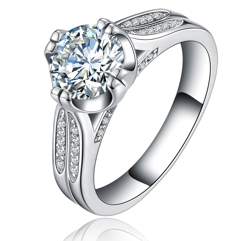 gold plated ring CZ diamond jewelry finger filled bague engagement wedding party rings for women bague bijoux wholesale MYR075(China (Mainland))