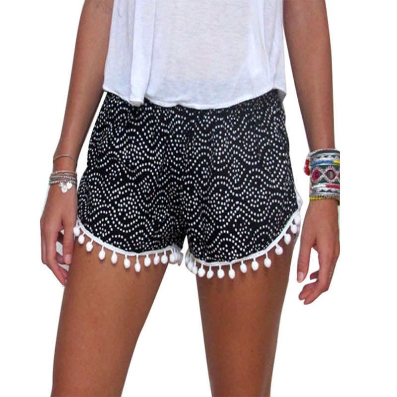 Women Girl Casual Shorts Elastic Waist Acetate Summer Ladies Short Pants