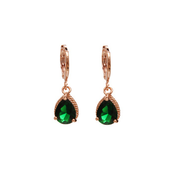 2015 New Summer Style Fashion Romantic 18K Gold Plated Green Crystal AAA Cubic Zircon CZ Wedding Jewelry Drop Earrings For Women
