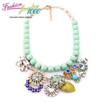 2013 New Luxury Brand Green Beads Chain Choker Necklace Fashion Crystal Pendant Jewelry For Women Free Shipping in 2013