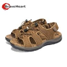 2016 new spring summer elastic leather sandals Mens Wear breathable shoes Korean sandalia fashion Tough guy waterproof plus 45(China (Mainland))