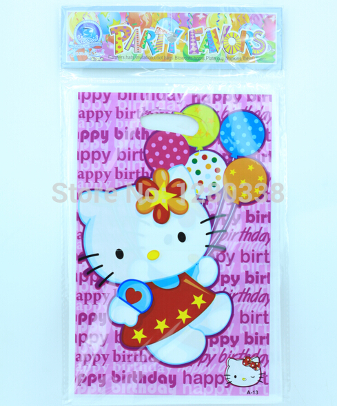 12PC/Lot New Lovely Hello Kitty Theme Party Favour Gift Bag Baby Girl birthday Party Favour Supplies Freeshipping()