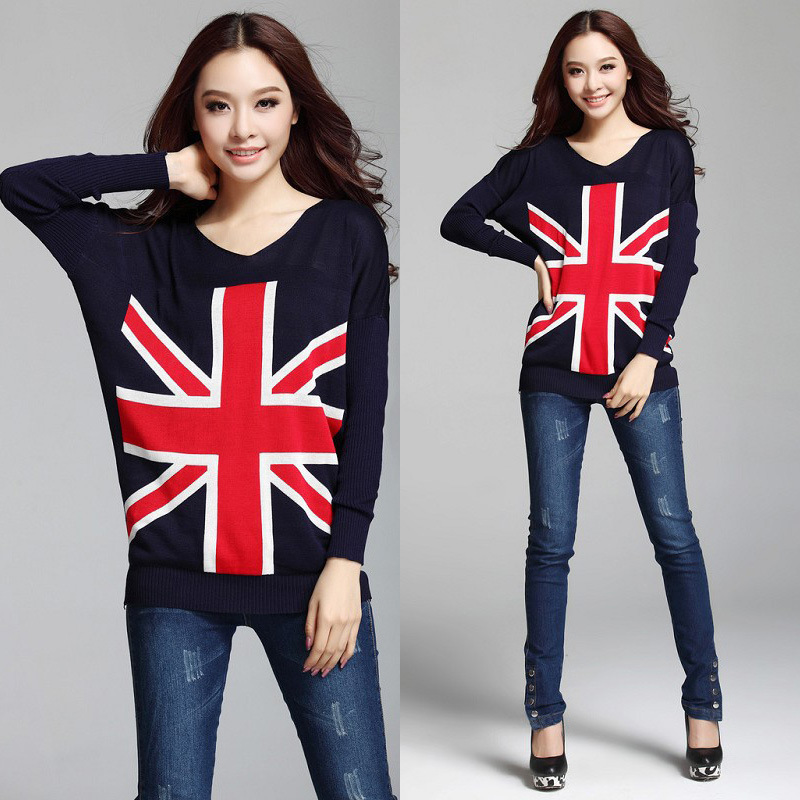 female sweaters pullovers women 2015 new autumn and winter British style casual long-sleeved V-neck British flag pattern knitted(China (Mainland))