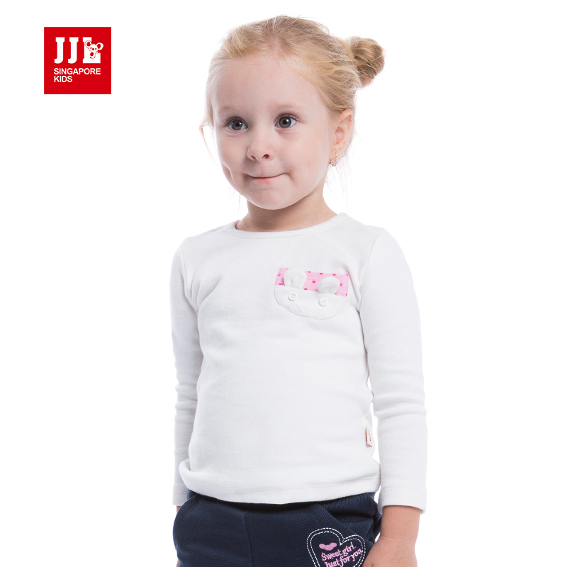 baby girls t shirt long sleeve rabbit pocket solid color baby shirts infant homewear kids t-shirts 2015 baby clothing <br><br>Aliexpress