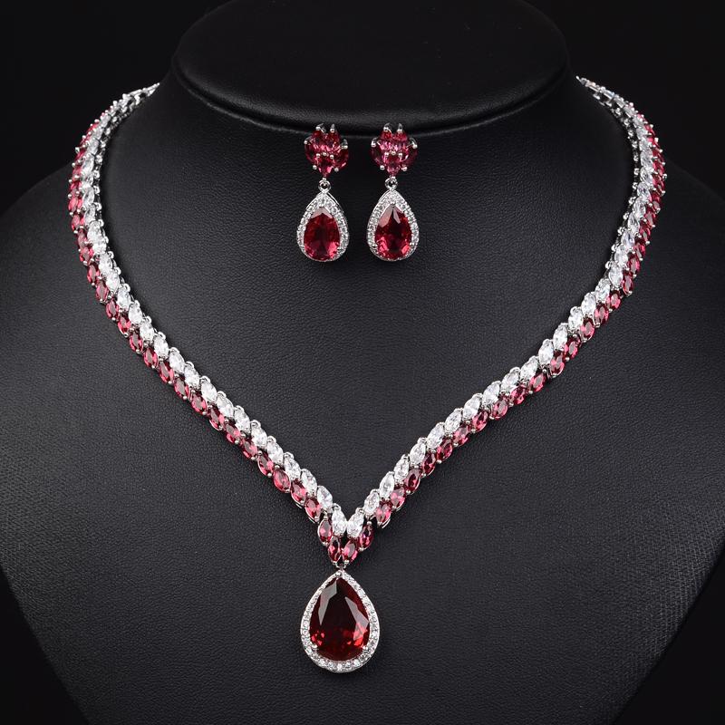 luxury ruby jewelry set aaa cubic zirconia jewellry water
