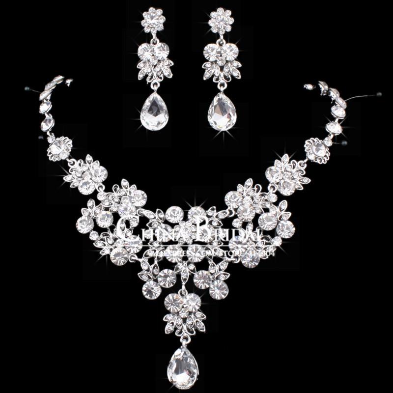 Wholesale lots Crystal Necklace Sets, 2142T, Drop Stud Earrings Women Bridal Jewelry Wedding Accessory,Bulksale<br><br>Aliexpress