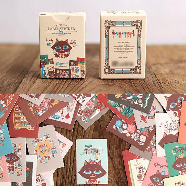 48 Pcs/Pack Kawaii GoGoon Cats Diary Stickers Set Decorative Stationery Stickers Label Sticker Scrapbooking DIY Stickers H0960(China (Mainland))