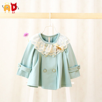 AD Elegant Baby Girls Coat Lace Collar Well Design Quality Toddler Baby's Outwear Trench for Spring Autumn Witner Kids Clothing