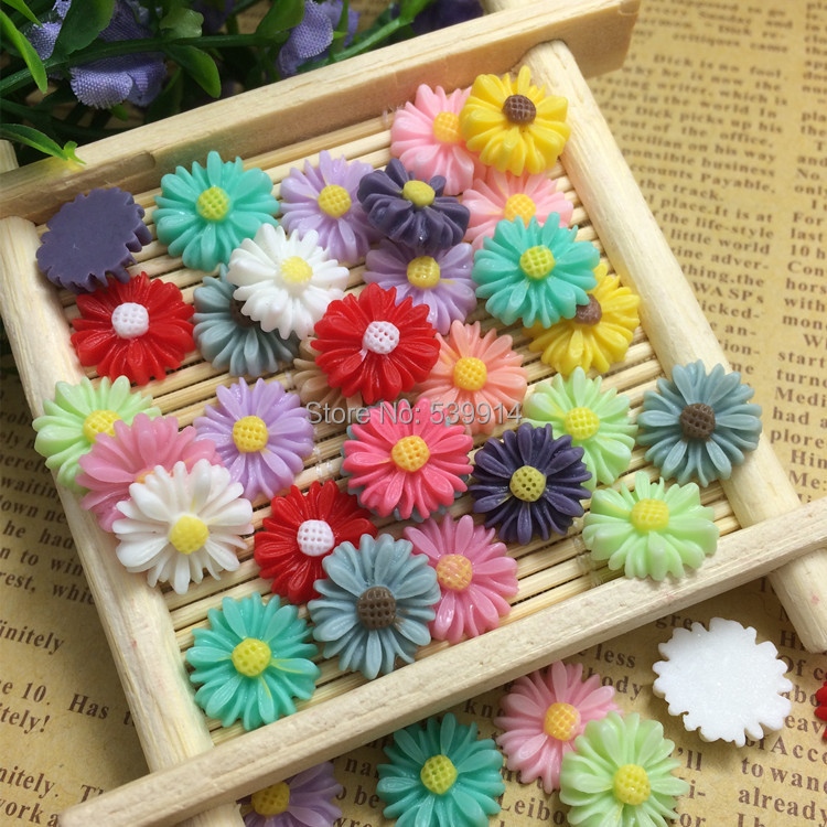 Free Shipping 13MM 200pcs/lot Mixed Colors chrysanthemum Flower Flat Base Resin Flower Jewelry Beads DIY Finding Accessory<br><br>Aliexpress
