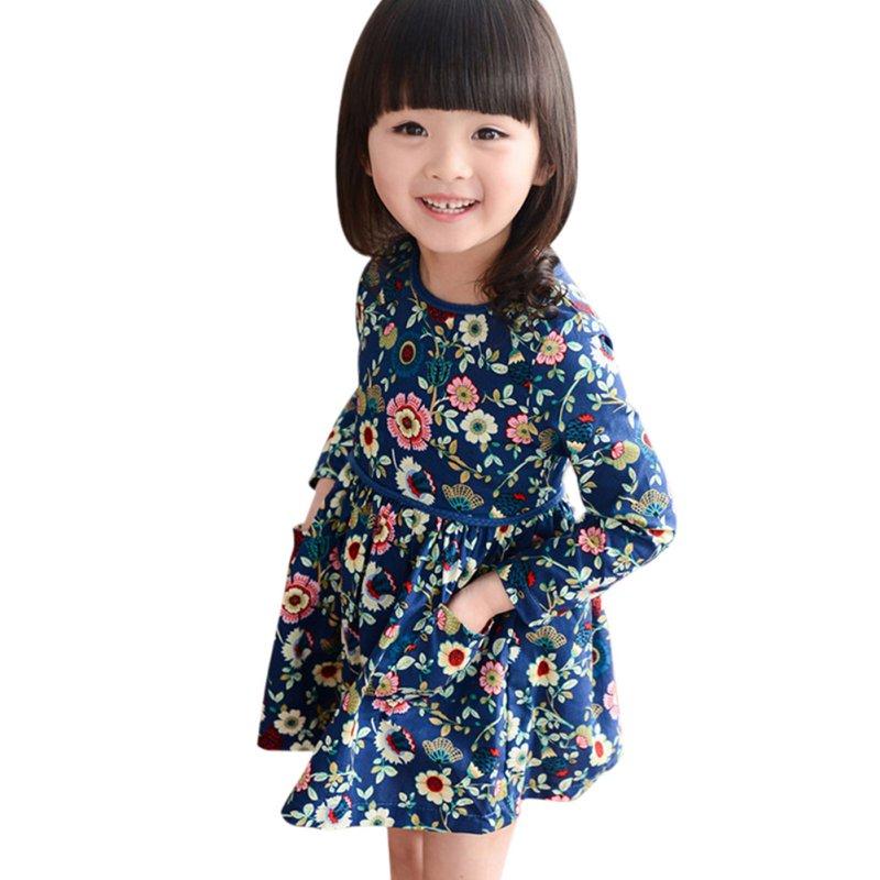 2-6Y Sweet Kids Girls Floral Pattern Dress Round Neck Long Sleeve Dresses B17(China (Mainland))