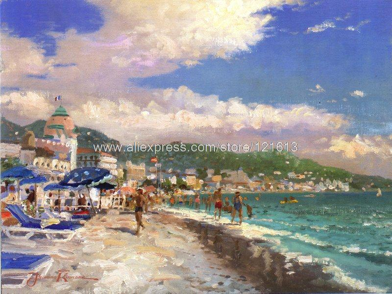 Thomas kinkade prints of oil painting Nice,french riviera seascape painting hotel office home decor modern wall painting(China (Mainland))