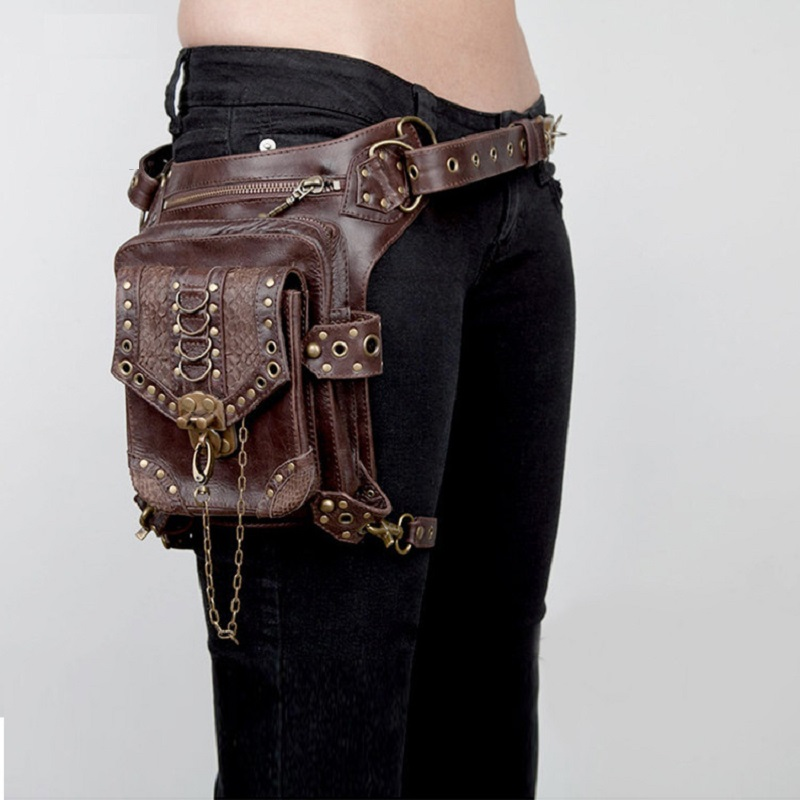 Personality Brown Leather Steampunk  Waist Packs of  Medieval Knight Bags for famle<br><br>Aliexpress