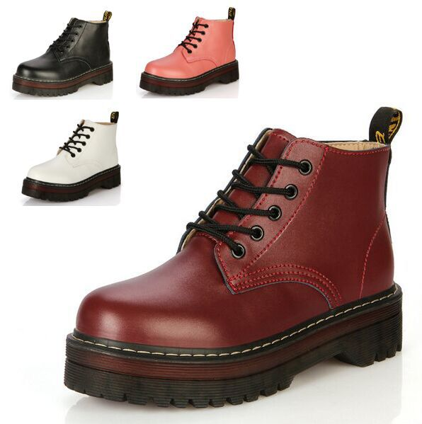 Women Lace Up Martin Boots Genuine Leather Combat Punk Ankle Boots platform oxfords shoes size 35-40 C068(China (Mainland))