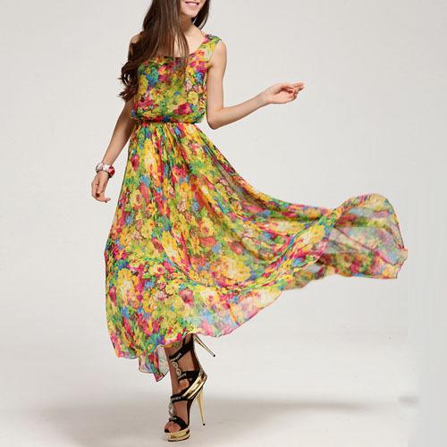 2015 New Summer Women Elegant Bohemian Style Flower Printing High Waist Sleeveless Dress Long Maxi Ankle-length Dresses WQW951 - Lovely Boutique. store
