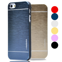 For iphone 5/5S Luxury Full Brushed Aluminum Metal Plastic Hard Back Cover Case For Apple iphone 5 5S Matte Mobile Phone Bags(China (Mainland))