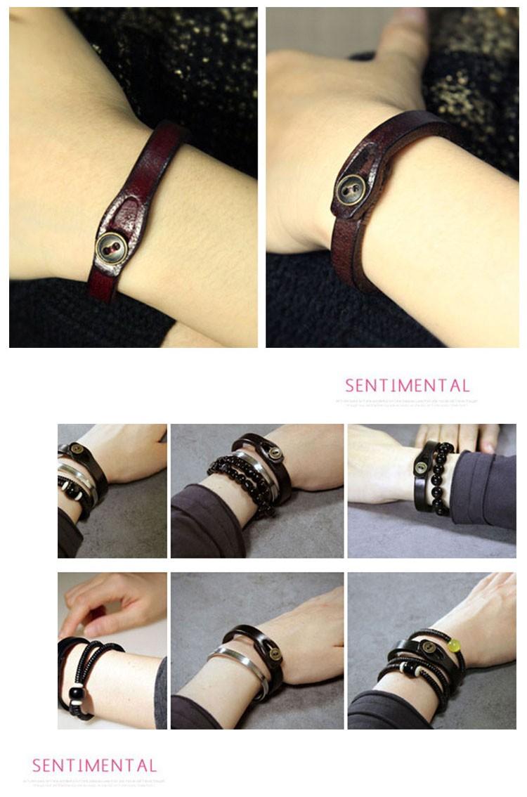 Js шарм лаки красный из натуральной кожи браслеты женщины веревка пояса Braclet роковая женщина ручной корейский простой ювелирные изделия WB003