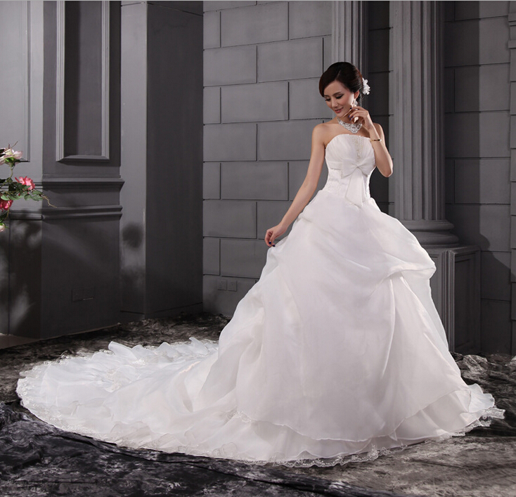 Wedding Dresses With Flats : Aliexpress buy crystal bridal gown tail women