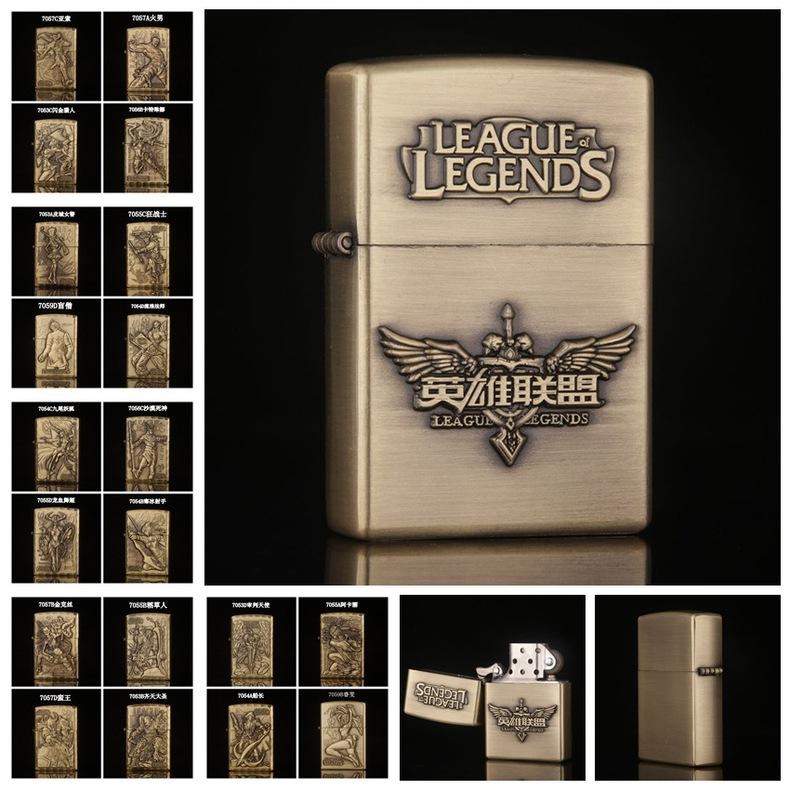 Customize Metal Bronze LOL Legend Game Lighter Embossed Refillable Kerosene Oil Cigar Windproof Classical Vintage Metal Lighter(China (Mainland))