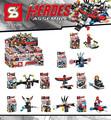 Captain America Black Widow Spider Man SY296 Minifigures 8Pcs lot Building Block Minifigure Toys Compatible Legoe