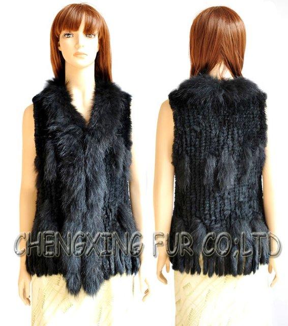CX-G-B-57C High Quality Hand Knitted Rabbit Fur Vest ~ DROP SHIPPING