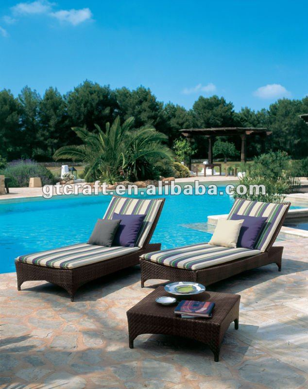 Gh lg 16 outdoor rattan chaise lounger garden wicker sun for 3 in 1 beach chaise lounge