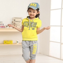 2016 new Summer wear Girls Boy clothing set  sports suit set clothing children outerwear coat tracksuit clothes T shirt+pant(China (Mainland))